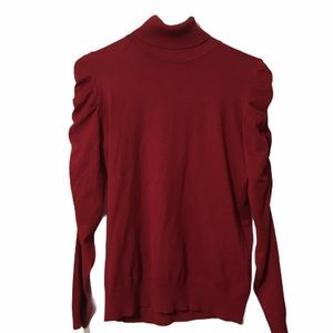 Joseph A. Red Turtleneck Rouged Sweater Size P L